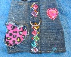 Jeans mit Flicken Herz Leopard
