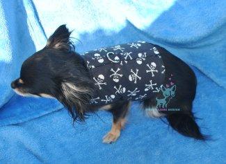 Hunde Softgeschirr Skull Pirat Schädel Totenkopf schwarz weiß chihuahua